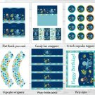 Under The Sea Octopus Crab Turtle Nautical Printable Birthday Party Package #A317