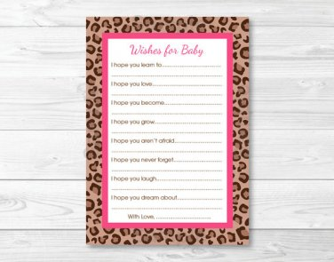 Pink Cheetah Print Printable Baby Shower Wishes For Baby Advice Cards #A251