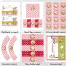Pink Farm Animals Printable Baby Shower Party Package #A318