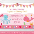Pink Under The Sea Nautical Printable Birthday Invitation Editable PDF #A159