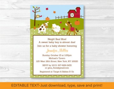 Fall Farm Animal Pumpkin Printable Baby Shower Invitation Editable PDF #A322