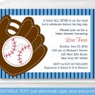 Baseball Baby Shower Invitation Printable Editable PDF #A323