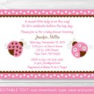 Pink Ladybug Printable Baby Shower Invitation Editable PDF #A122