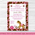 Pink Cowgirl Pony Printable Baby Shower Invitation Editable PDF #A327