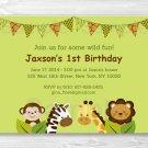 Safari Jungle Animal Printable Birthday Invitation Editable PDF #A156