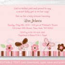 Pink Butterfly Printable Baby Shower Invitation Editable PDF #A147