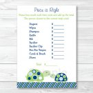 "Mod Green Turtle Printable Baby Shower ""Price Is Right!"" Game Cards #A126"