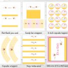 Pink Bumble Bee Printable Baby Shower Party Package #A101