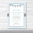 Modern Baby Blue Chevron Printable Baby Shower Invitation Editable PDF #A260