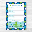 Nautical Calypso Sea Friends Printable Baby Shower Wishes For Baby Advice Cards #A202