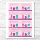 Girl Monsters Pink Printable Baby Shower Book Request Cards #A183