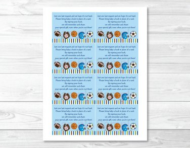 Sports Football Baseball Soccer Printable Baby Shower Book Request Cards #A119