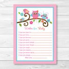 Sweet Lil Owl Pink Love Birds Printable Baby Shower Wishes For Baby Advice Cards #A253