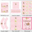 Pink Safari Girl Jungle Animal Printable Birthday Party Package #A309