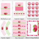 Sweet Little Strawberry Printable Birthday Party Package #A311