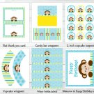 Mod Monkey Printable Birthday Party Package #A335