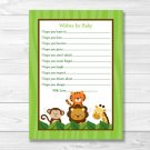 Jungle Safari Friends Printable Baby Shower Wishes For Baby Advice Cards #A336