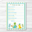 Frog Turtle Duck In The Pond Printable Baby Shower Wishes For Baby Advice Cards #A158