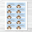 Mod Pop Monkey Blue Printable Baby Shower Diaper Raffle Tickets #A175