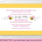 Pink Bumble Bee Printable Baby Shower Invitation Editable PDF #A101