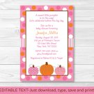 Pink Pumpkin Fall Harvest Printable Baby Shower Invitation Editable PDF #A337
