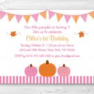Pink Pumpkin Fall Harvest Printable Birthday Invitation Editable PDF #A338