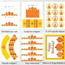 Fall Pumpkin Autumn Printable Birthday Party Package #A339