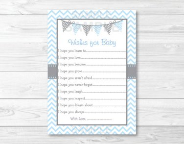 Modern Baby Blue Chevron Printable Baby Shower Wishes For Baby Advice Cards #A260