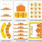 Fall Pumpkin Autumn Baby Boy Printable Baby Shower Party Package #A248