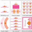Pink Pumpkin Fall Harvest Printable Baby Shower Party Package #A337