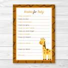 Giraffe Jungle Safari Printable Baby Shower Wishes For Baby Advice Cards #A169