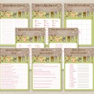 Pink Woodland Forest Animals Baby Shower Games Pack - 8 Printable Games #A340