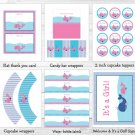 Lil Pink Whale Baby Girl Printable Baby Shower Party Package #A254