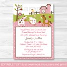 Pink Farm Pony Cow Sheep Owl Printable Baby Shower Invitation Editable PDF #A318