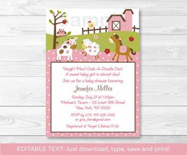 Pink Farm Pony Cow Sheep Owl Printable Baby Shower Invitation Editable PDF #A318