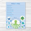 Under The Sea Calypso Octopus Printable Baby Shower Wishes For Baby Advice Cards #A150