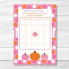 Pink Pumpkin Fall Harvest Printable Baby Shower Bingo Cards #A337