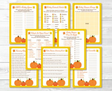 Fall Pumpkin Baby Shower Games Pack - 8 Printable Games #A341