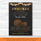 Pumpkin Chalkboard Printable Baby Shower Invitation Editable PDF #A341