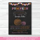 Pink Pumpkin Chalkboard Printable Baby Shower Invitation Editable PDF #A342