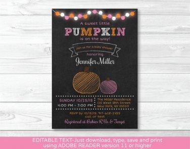Pink Pumpkin Chalkboard Printable Baby Shower Invitation Editable PDF #A342