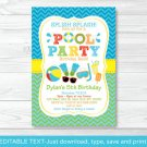 Boys Pool Party Printable Birthday Invitation Editable PDF #A343