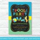 Boys Pool Party Printable Chalkboard Birthday Invitation Editable PDF #A344