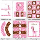 Pink Giraffe Printable Baby Shower Party Package #A240