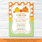 Fall Pumpkin Chevron Printable Baby Shower Invitation Editable PDF #A346