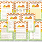 Fall Pumpkin Chevron Baby Shower Games Pack - 8 Printable Games #A346
