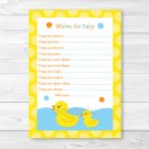 Lil Rubber Duck Printable Baby Shower Wishes For Baby Advice Cards #A176