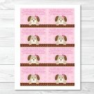 Pink Polka Dot Puppy Dog Printable Baby Shower Book Request Cards #A152