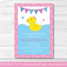 Pink Rubber Duck Printable Birthday Invitation Editable PDF #A141
