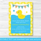 Rubber Duck Printable Birthday Invitation Editable PDF #A345